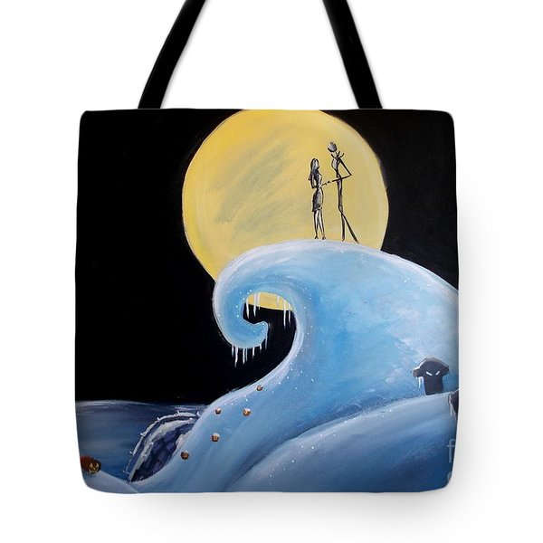 Jack And Sally Snowy Hill Tote Bag by Marisela Mungia
