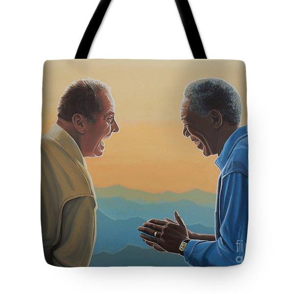 Jack Nicholson And Morgan Freeman Tote Bag by Paul Meijering