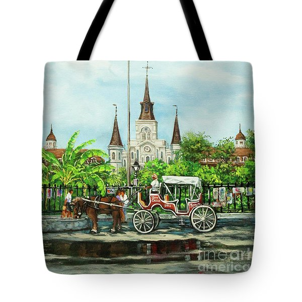 Jackson Square Carriage Tote Bag by Dianne Parks