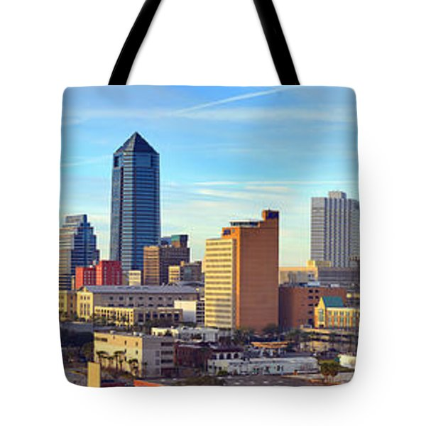Jacksonville Skyline Morning Day Color Panorama Florida Tote Bag by Jon Holiday