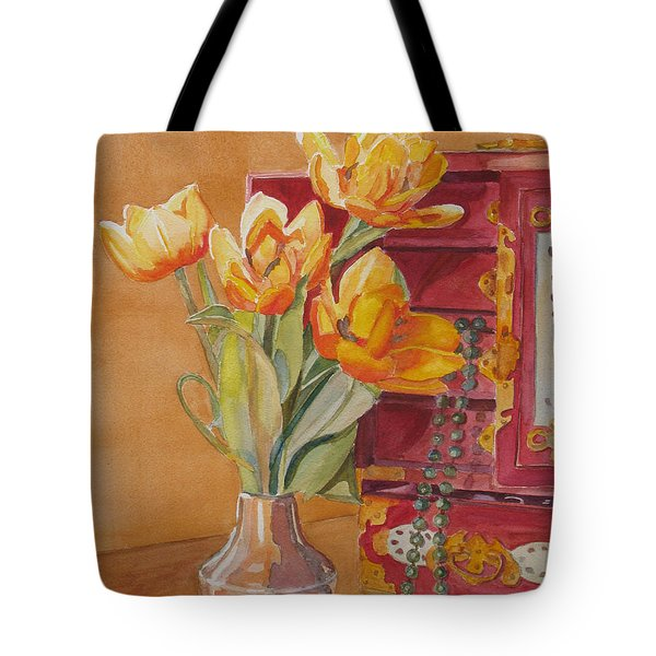 Jade And Tulips Tote Bag by Jenny Armitage