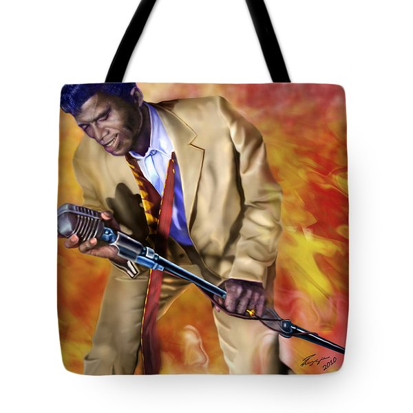James Brown And His Famous Flames Tote Bag by Reggie Duffie