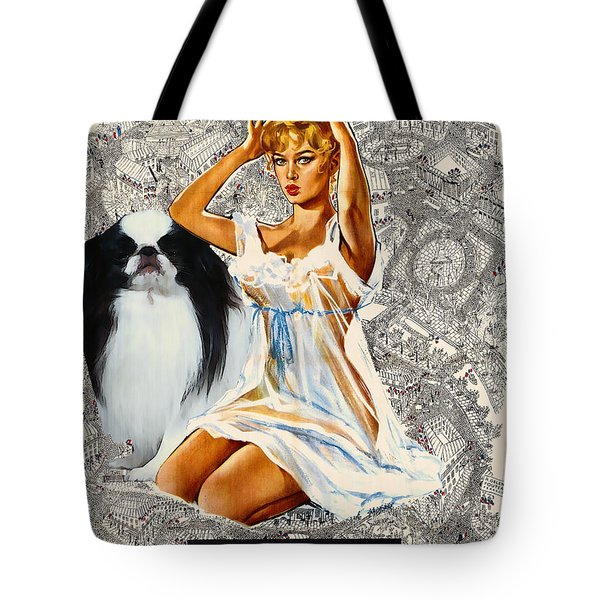 Japanese Chin Art - Una Parisienne Movie Poster Tote Bag by Sandra Sij