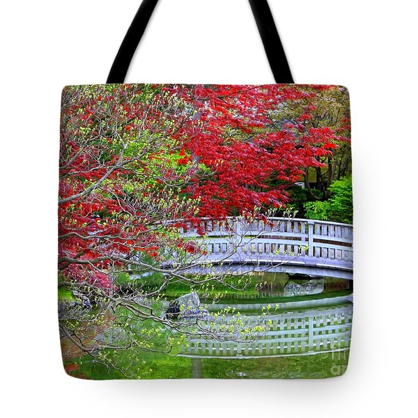 Japanese Garden Bridge In Springtime Tote Bag by Carol Groenen