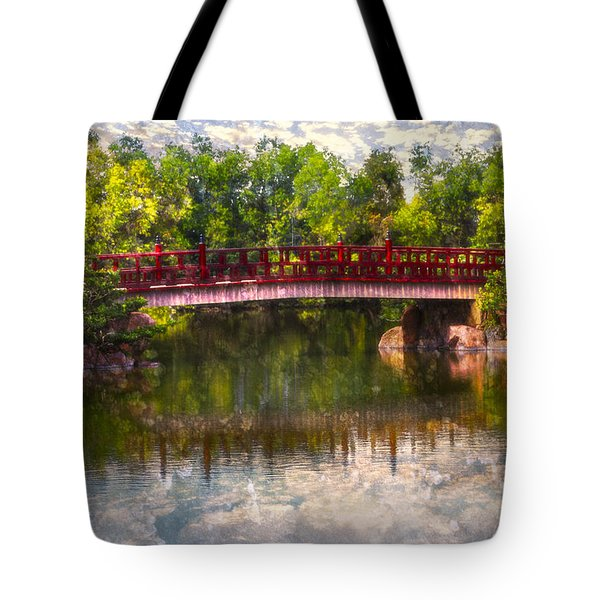 Japanese Gardens Bridge Tote Bag by Debra and Dave Vanderlaan