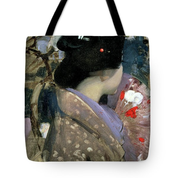 Japanese Lady With A Fan Tote Bag by George F Henry