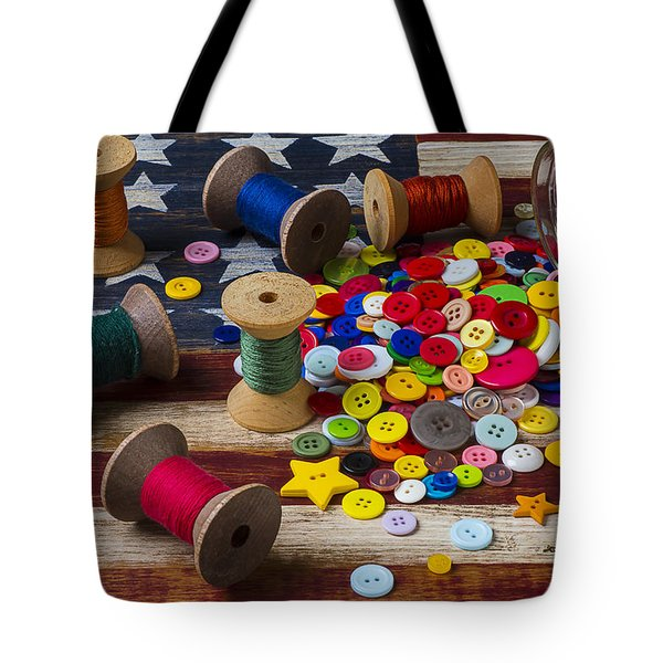Jar Of Buttons And Spools Of Thread Tote Bag by Garry Gay