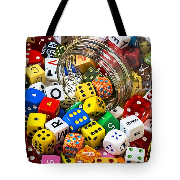 Jar Of Colorful Dice Tote Bag by Garry Gay
