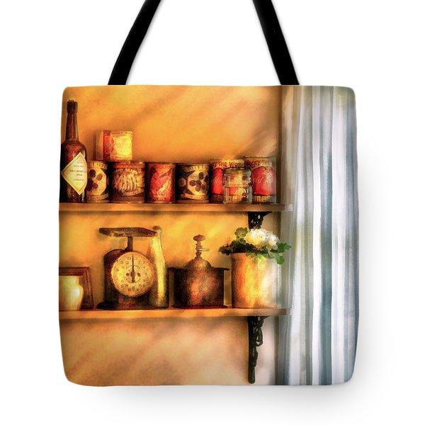Jars - Kitchen Shelves Tote Bag by Mike Savad