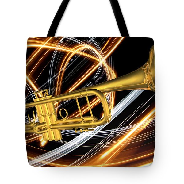 Jazz Art Trumpet Tote Bag by Louis Ferreira
