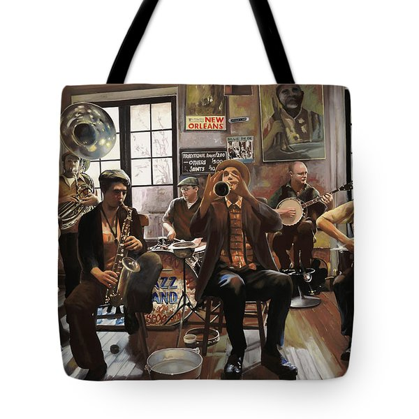 Jazz Orchestra Tote Bag by Guido Borelli