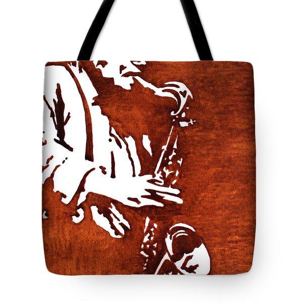 Jazz Saxofon Player Coffee Painting Tote Bag by Georgeta  Blanaru