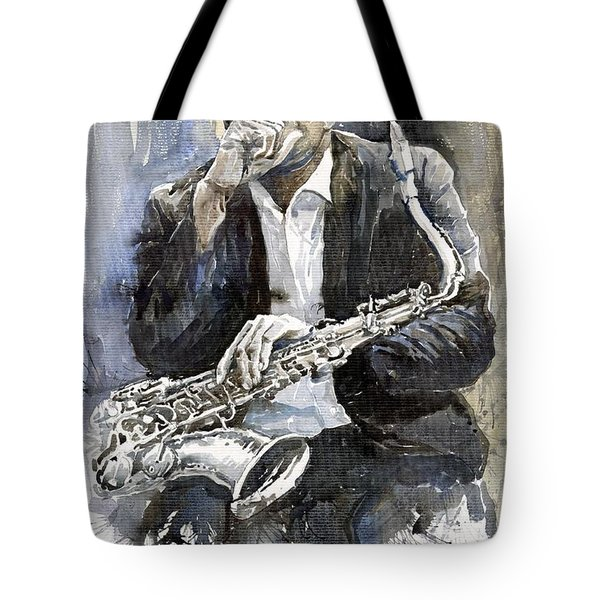 Jazz Saxophonist John Coltrane Yellow Tote Bag by Yuriy  Shevchuk