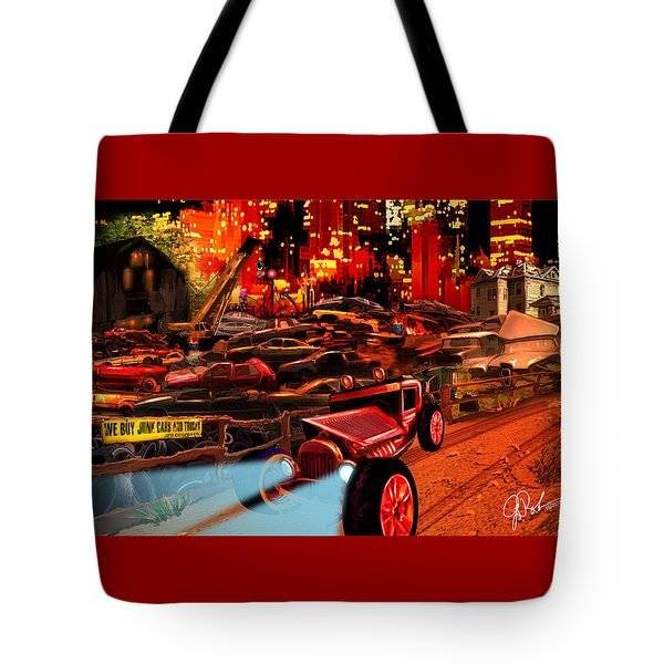 Jed Cooper Junk Yard Tote Bag by Gerry Robins