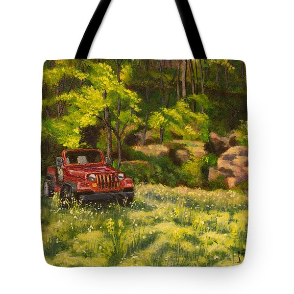 Jeep By The Bluff Tote Bag by Janet Felts