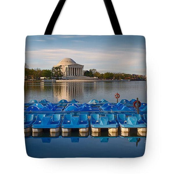 Jefferson Memorial And Paddle Boats Tote Bag by Jerry Fornarotto