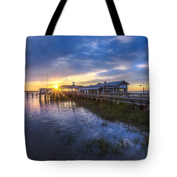 Jekyll Island Sunset Tote Bag by Debra and Dave Vanderlaan