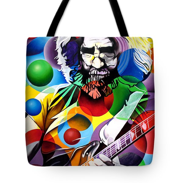 Jerry Garcia In Bubbles Tote Bag by Joshua Morton