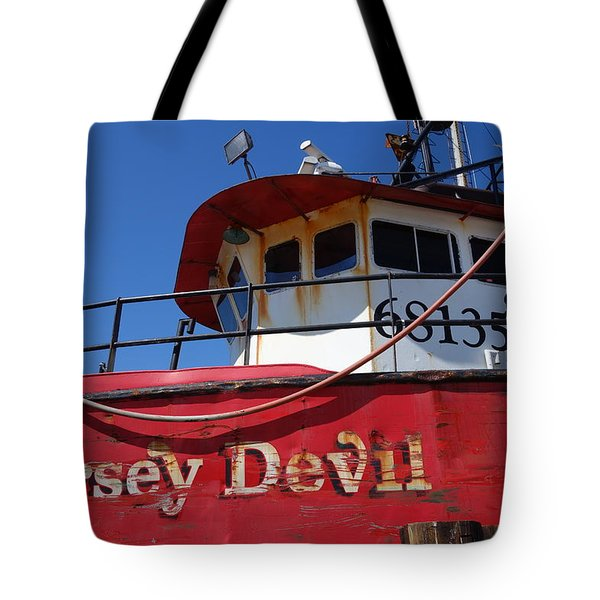 Jersey Devil Clam Boat Tote Bag by Joan Reese