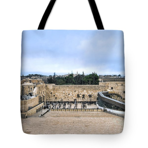 Jerusalem The Western Wall Tote Bag by Ron Shoshani
