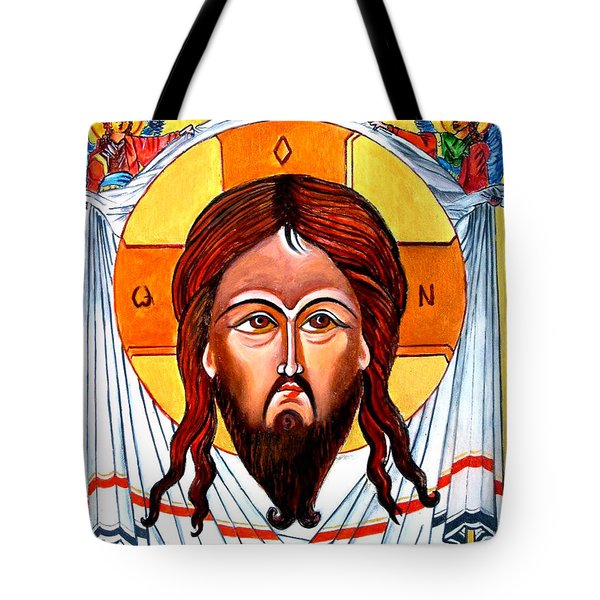 Jesus Christ Mandylion Icon Tote Bag by Ryszard Sleczka