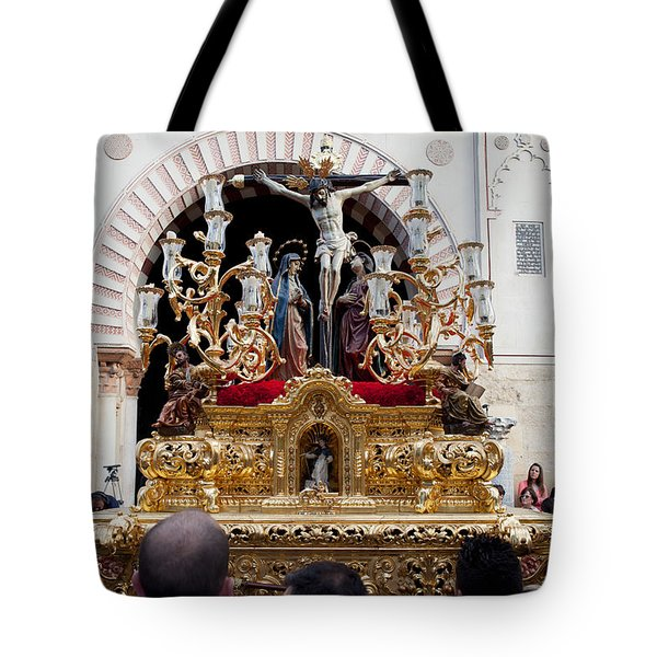 Jesus Christ on the Cross in Cordoba Tote Bag by Artur Bogacki