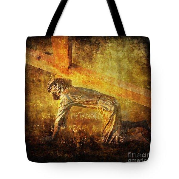 Jesus Falls Again Via Dolorosa 7 Tote Bag by Lianne Schneider
