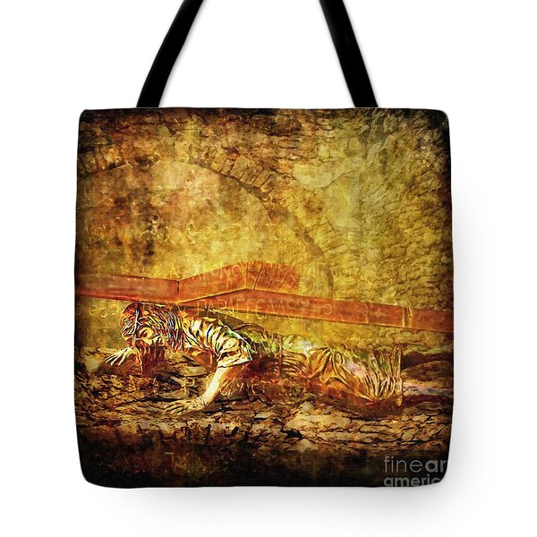 Jesus Falls Third Time Via Dolorosa 9 Tote Bag by Lianne Schneider