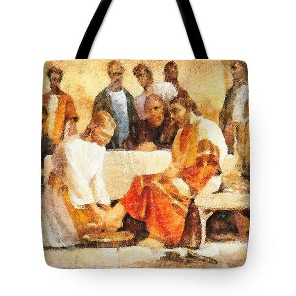 Jesus Washing Apostle's Feet Tote Bag by Dan Sproul