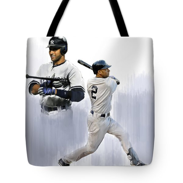 Jeter V Derek Jeter Tote Bag by Iconic Images Art Gallery David Pucciarelli