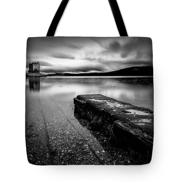 Jetty to Castle Stalker Tote Bag by Dave Bowman
