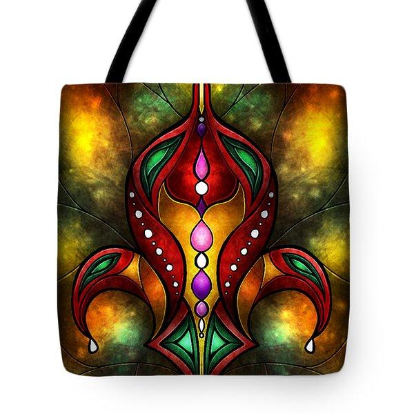 Jeweled Fleur De Lis Tote Bag by Mandie Manzano