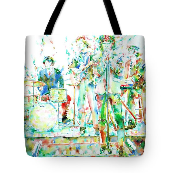 Jim Morrison And The Doors Live On Stage- Watercolor Portrait Tote Bag by Fabrizio Cassetta