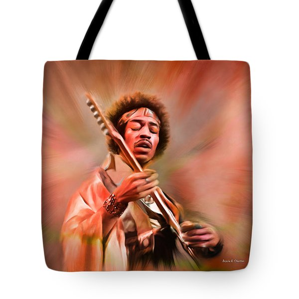 Jimi Hendrix Electrifying Guitar Play Tote Bag by Angela A Stanton