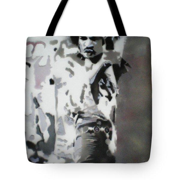 Jimi Hendrix  On Plexiglass Tote Bag by Barry Boom