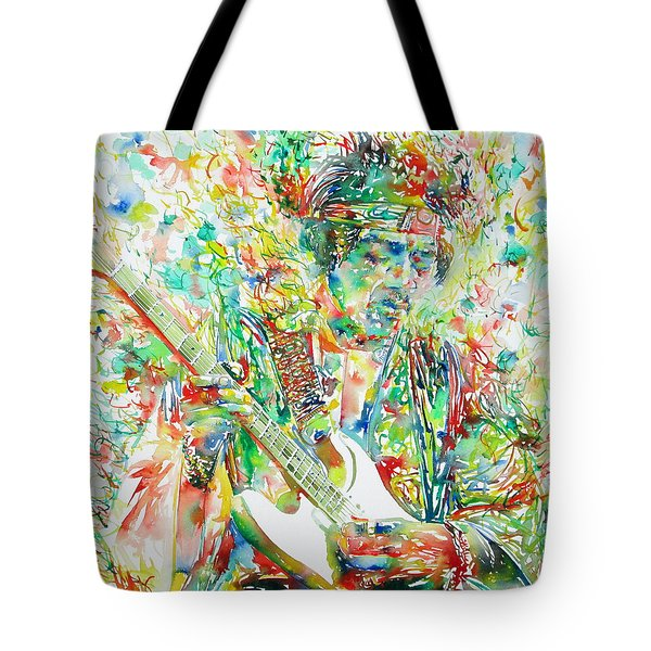 JIMI HENDRIX PLAYING THE GUITAR PORTRAIT.1 Tote Bag by Fabrizio Cassetta