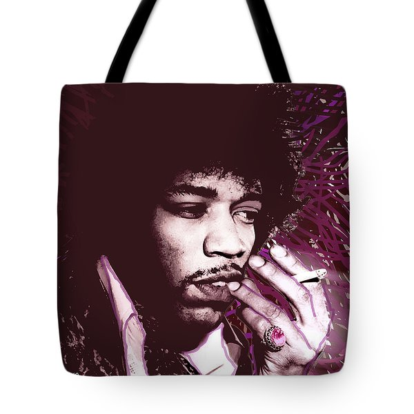 Jimi Hendrix Purple Haze Red Tote Bag by Tony Rubino