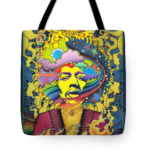 Jimi Hendrix Rainbow King Tote Bag by Jeff Hopp
