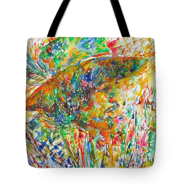 Jimi Hendrix With Hat Watercolor Portrait Tote Bag by Fabrizio Cassetta