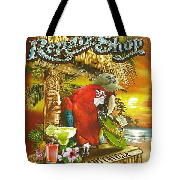 Jimmy Buffett's Flip Flop Repair Shop Tote Bag by Desiderata Gallery