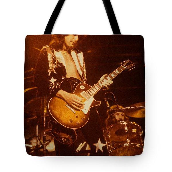 Jimmy Page 1975 Tote Bag by David Plastik