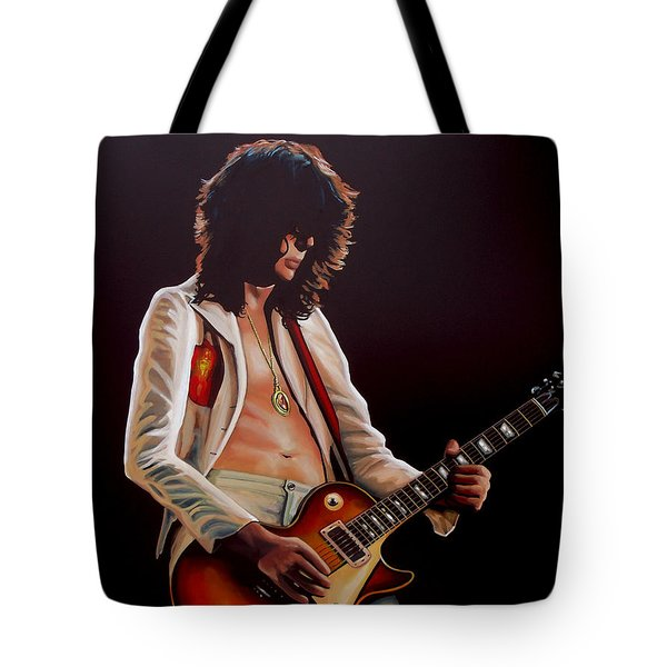 Jimmy Page In Led Zeppelin Painting Tote Bag by Paul Meijering