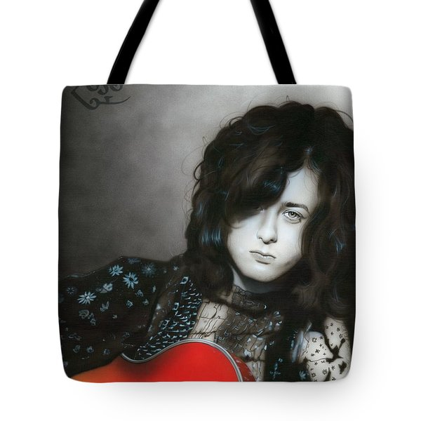 'Jimmy Page' Tote Bag by Christian Chapman Art