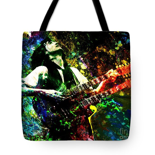 Jimmy Page - Led Zeppelin - Original Painting Print Tote Bag by Ryan Rock Artist