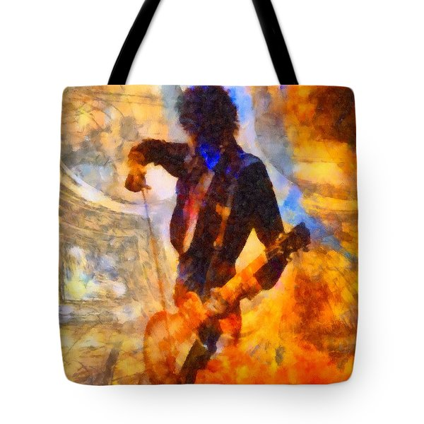 Jimmy Page Playing Guitar With Bow Tote Bag by Dan Sproul
