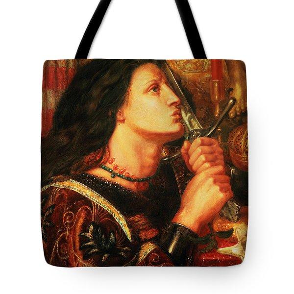 Joan Of Arc Kissing The Sword Tote Bag by Dante Gabriel Charles Rossetti