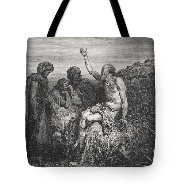 Job And His Friends Tote Bag by Gustave Dore