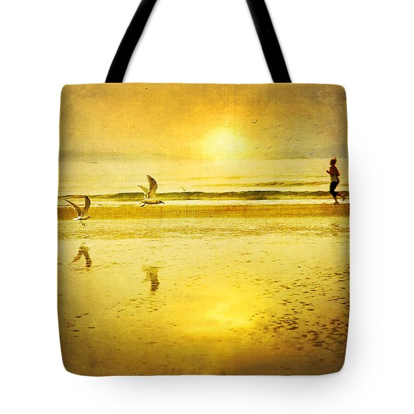 Jogging On Beach With Gulls Tote Bag by Theresa Tahara