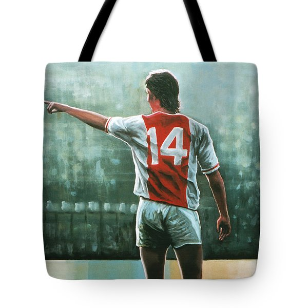 Johan Cruijff Nr 14 Painting Tote Bag by Paul Meijering