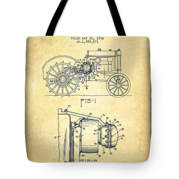 John Deer Tractor Patent drawing from 1934 - Vintage Tote Bag by Aged Pixel